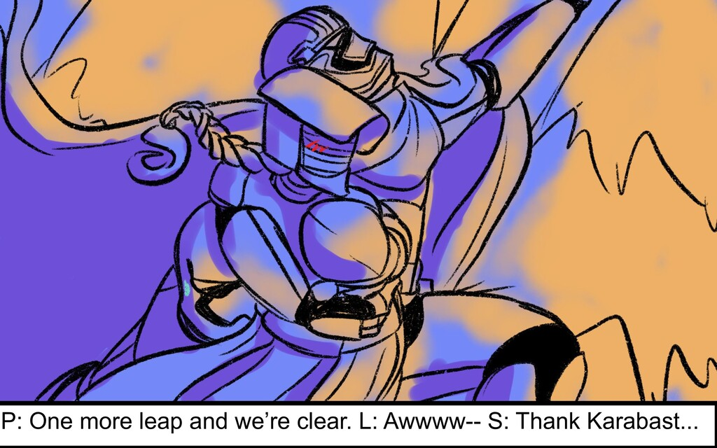 P: One more leap and we're clear. L: Awwww-- S:...