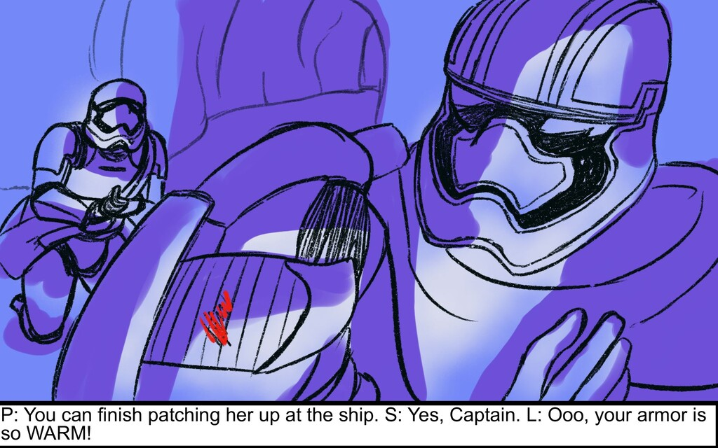 P: You can finish patching her up at the ship. ...