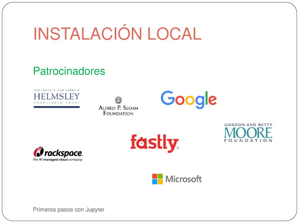 Primeros pasos con Jupyter Patrocinadores INSTA...