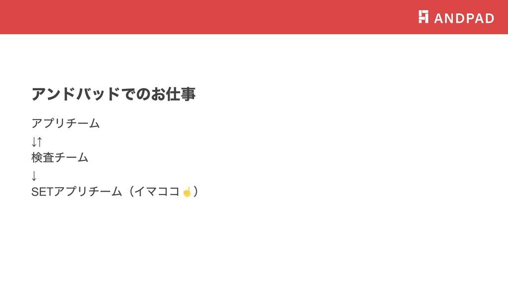 アンドバッドでのお仕事 アプリチーム ↓↑ 検査チーム ↓ SET アプリチーム(イマココ )...