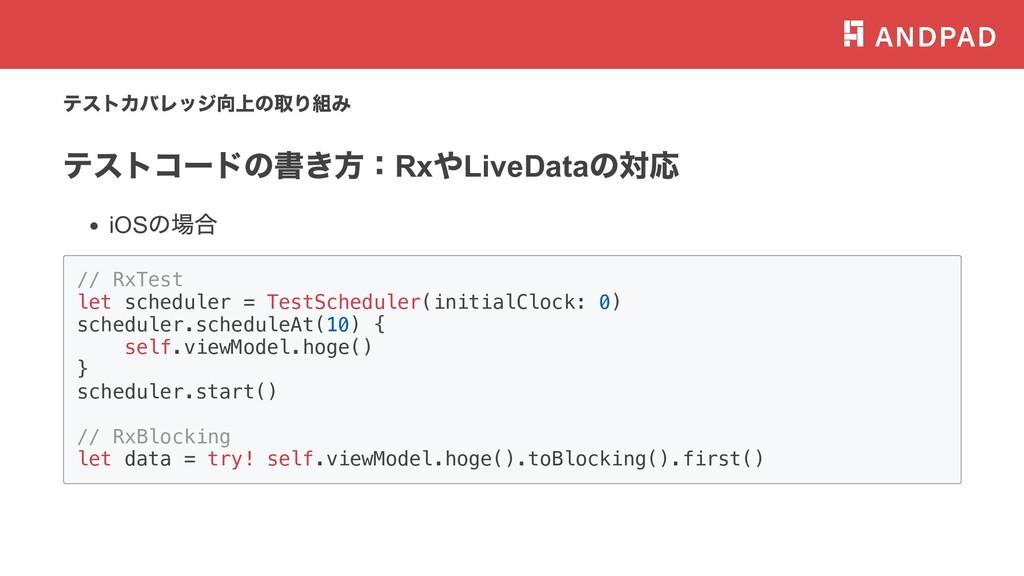 テストカバレッジ向上の取り組み テストコードの書き⽅: Rx や LiveData の対応 i...