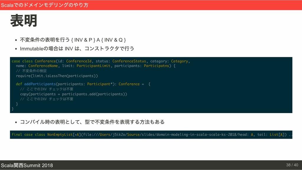 表明 不変条件の表明を行う { INV & P } A { INV & Q } Immutab...