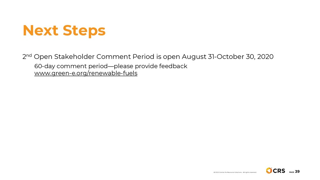 2nd Open Stakeholder Comment Period is open Aug...