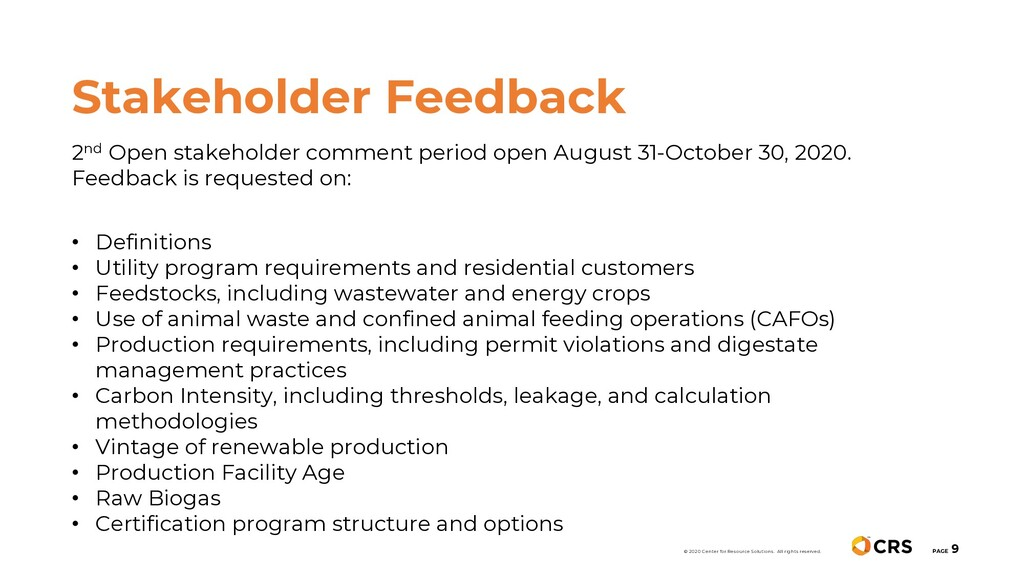 2nd Open stakeholder comment period open August...