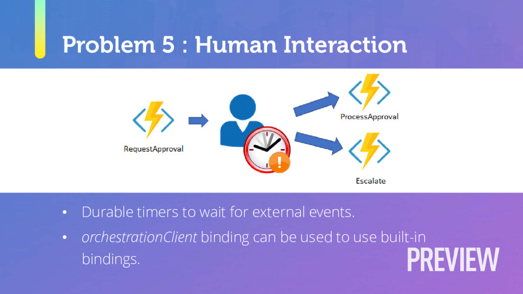 Problem 5 : Human Interaction • Durable timers ...