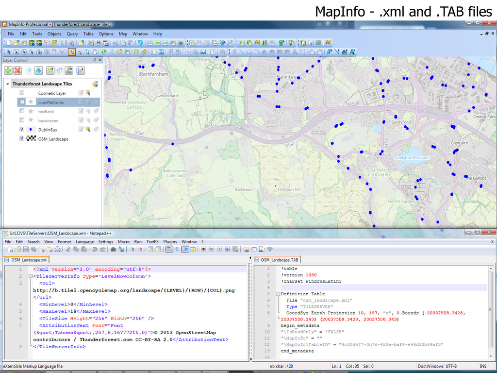 MapInfo - .xml and .TAB files