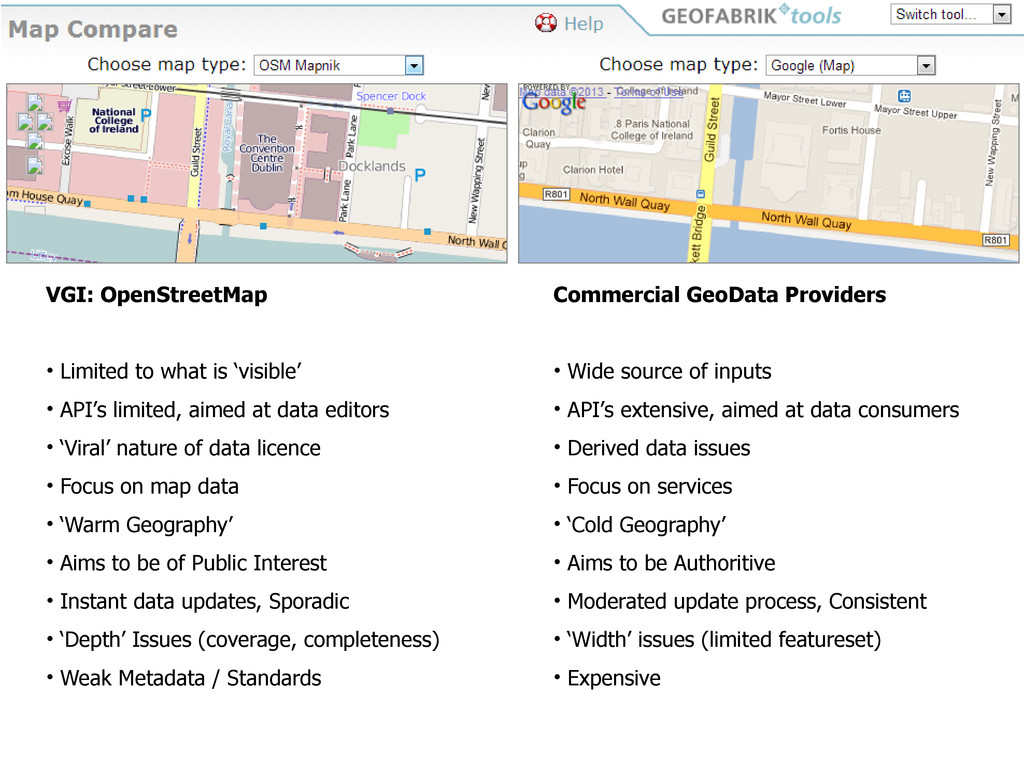 VGI: OpenStreetMap • Limited to what is 'visibl...