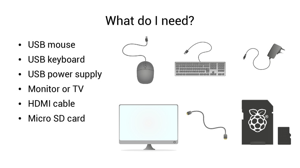 What do I need? ● USB mouse ● USB keyboard ● US...