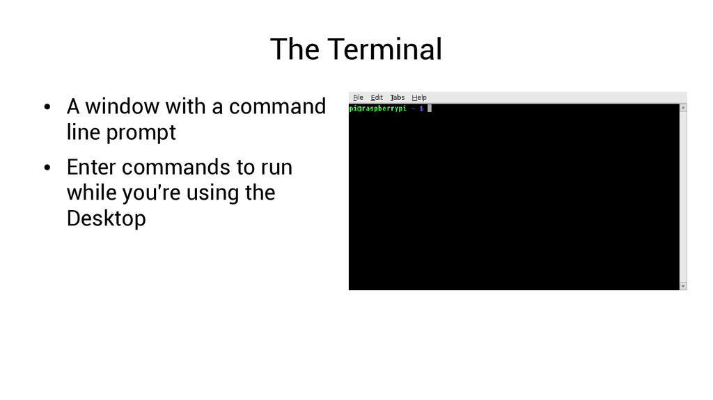 The Terminal ● A window with a command line pro...