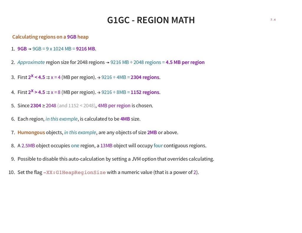 G1GC - REGION MATH Calculating regions on a 9GB...