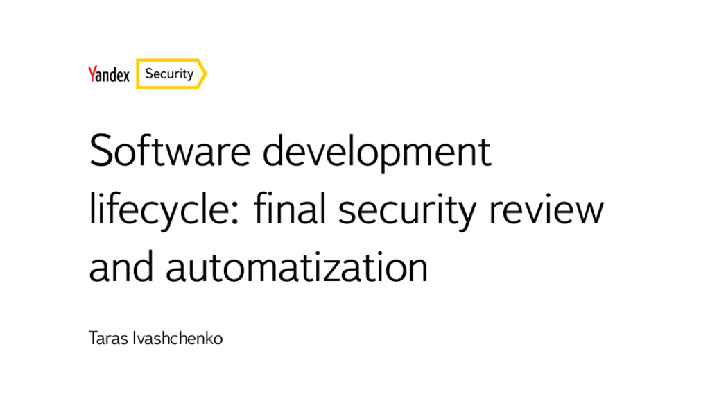 Security Software development lifecycle: final s...