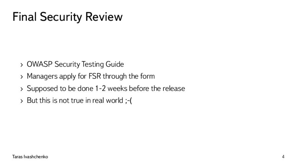 Final Security Review › OWASP Security Testing ...