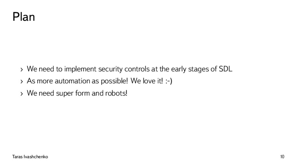 Plan › We need to implement security controls a...