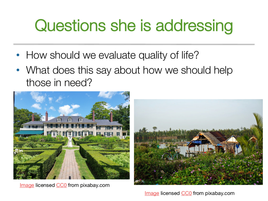 Questions she is addressing • How should we eva...