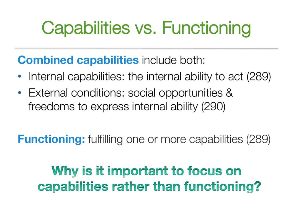 Capabilities vs. Functioning Combined capabilit...