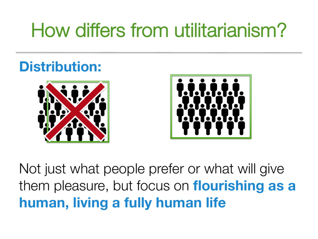 How differs from utilitarianism? Distribution: ...