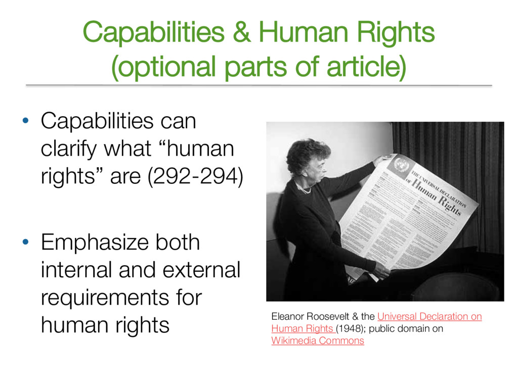 Capabilities & Human Rights (optional parts of ...