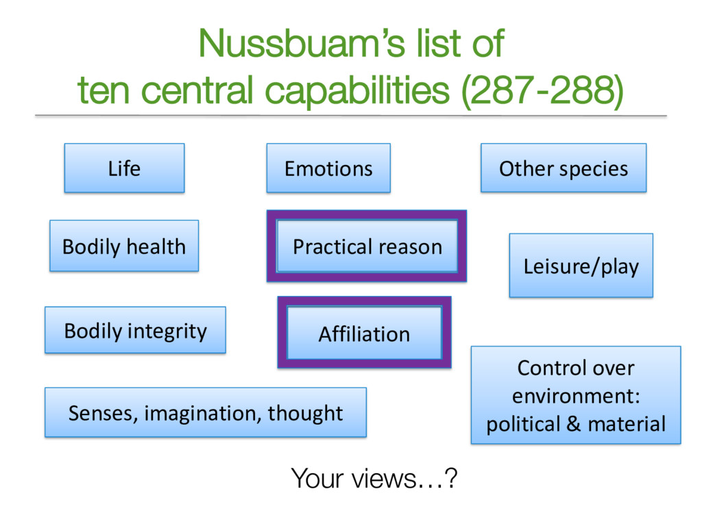 Nussbuam's list of ten central capabilities (28...
