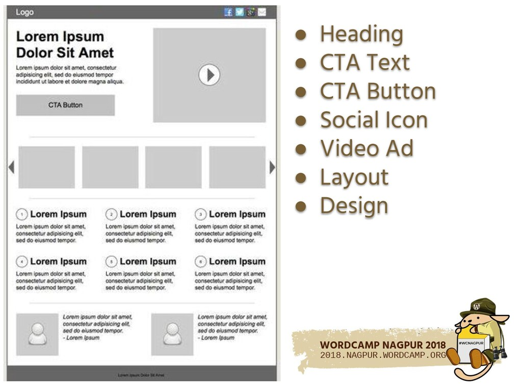 ● Heading ● CTA Text ● CTA Button ● Social Icon...