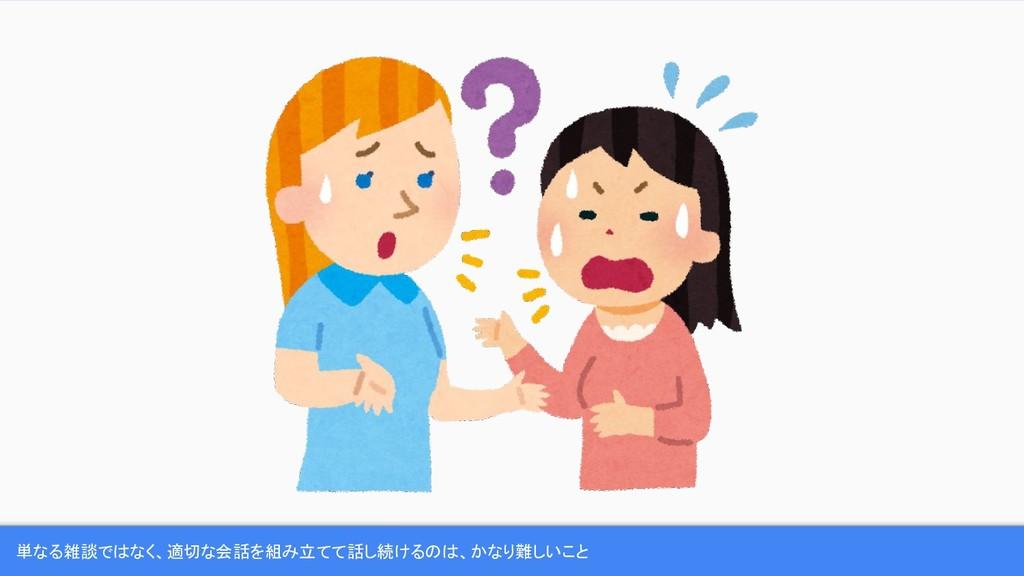 単なる雑談ではなく、適切な会話を組み立てて話し続けるのは、かなり難しいこと