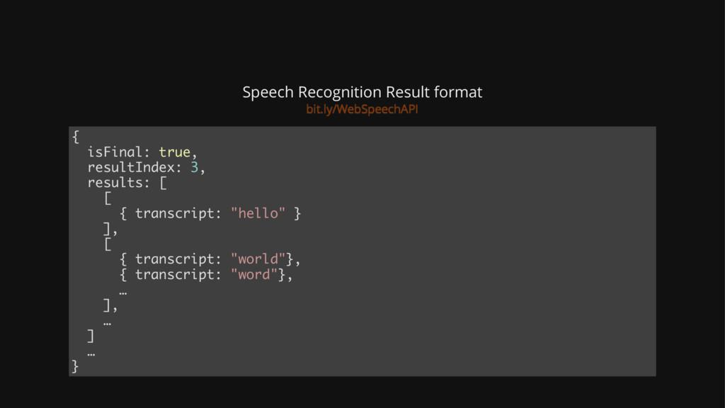 Speech Recognition Result format { isFinal: tru...
