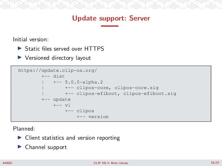 Update support: Server Initial version: ◮ Stati...