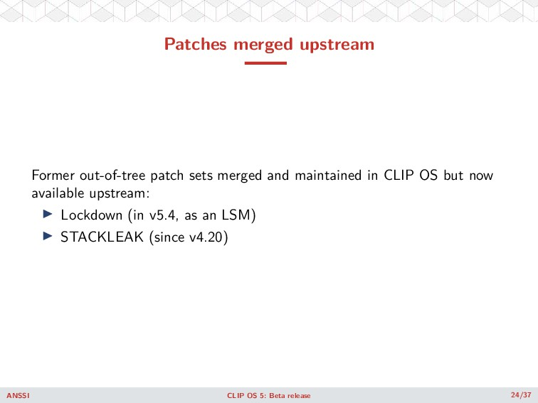 Patches merged upstream Former out-of-tree patc...