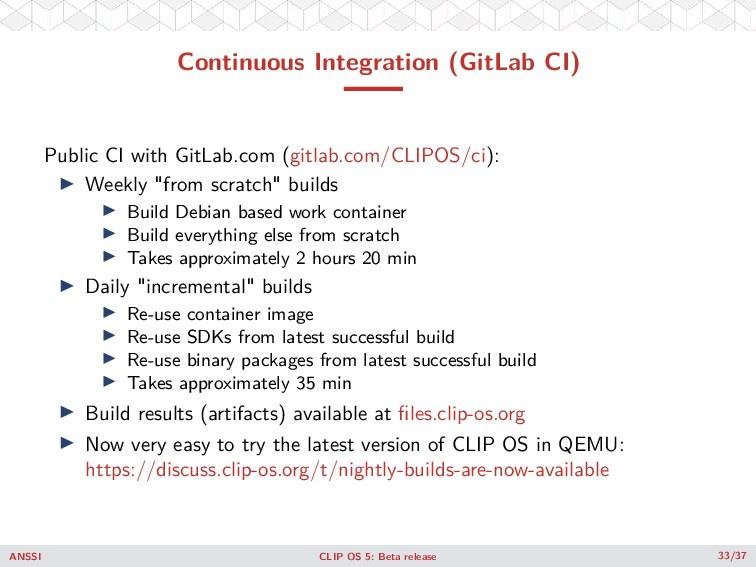 Continuous Integration (GitLab CI) Public CI wi...