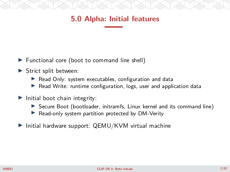 5.0 Alpha: Initial features ◮ Functional core (...