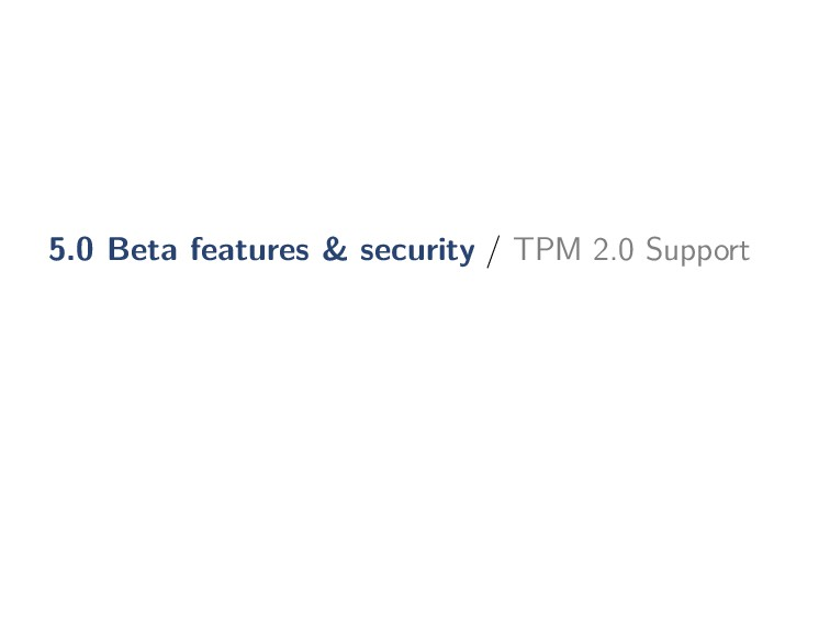 5.0 Beta features & security / TPM 2.0 Support