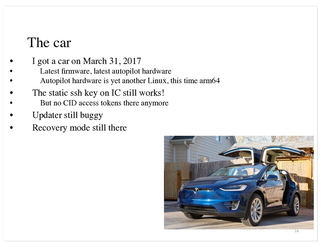 The car • I got a car on March 31, 2017 • Lates...