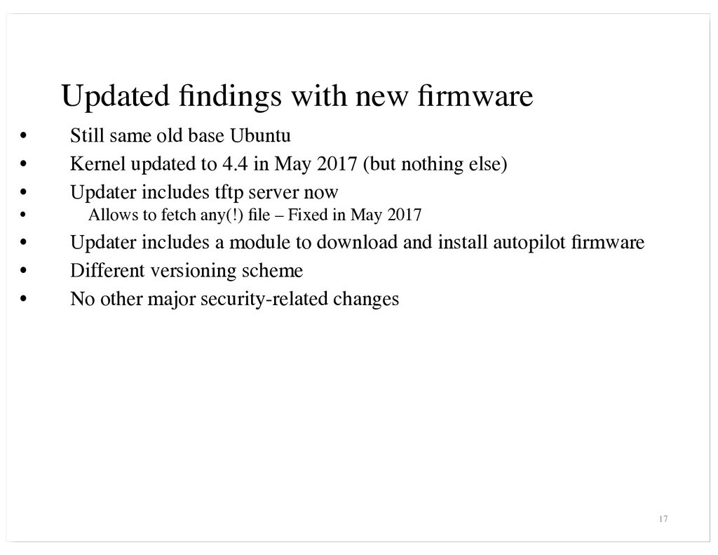 Updated findings with new firmware • Still same o...