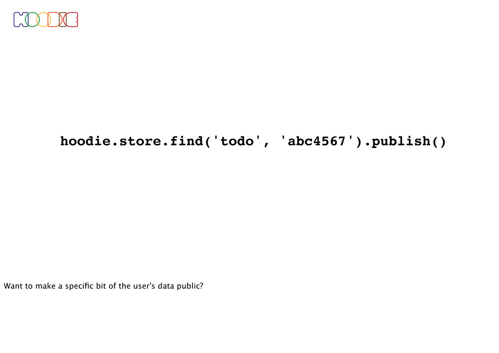 hoodie.store.find('todo', 'abc4567').publish() ...