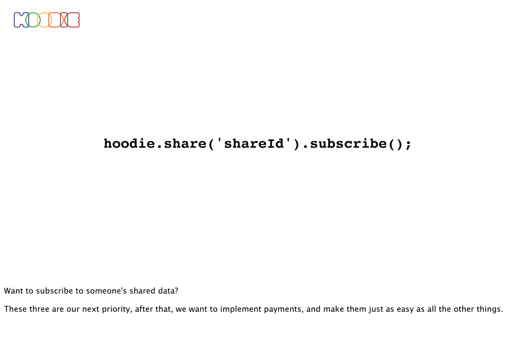 hoodie.share('shareId').subscribe(); Want to su...