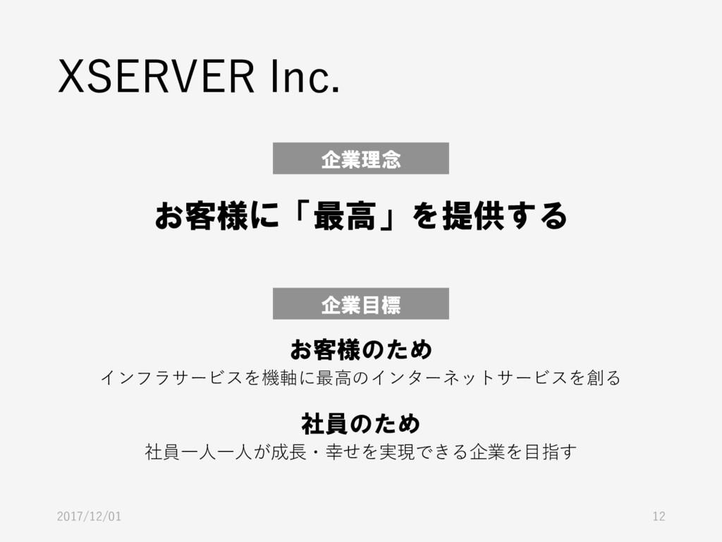 XSERVER Inc. 2017/12/01 12 企業理念 お客様に「最高」を提供する 企...