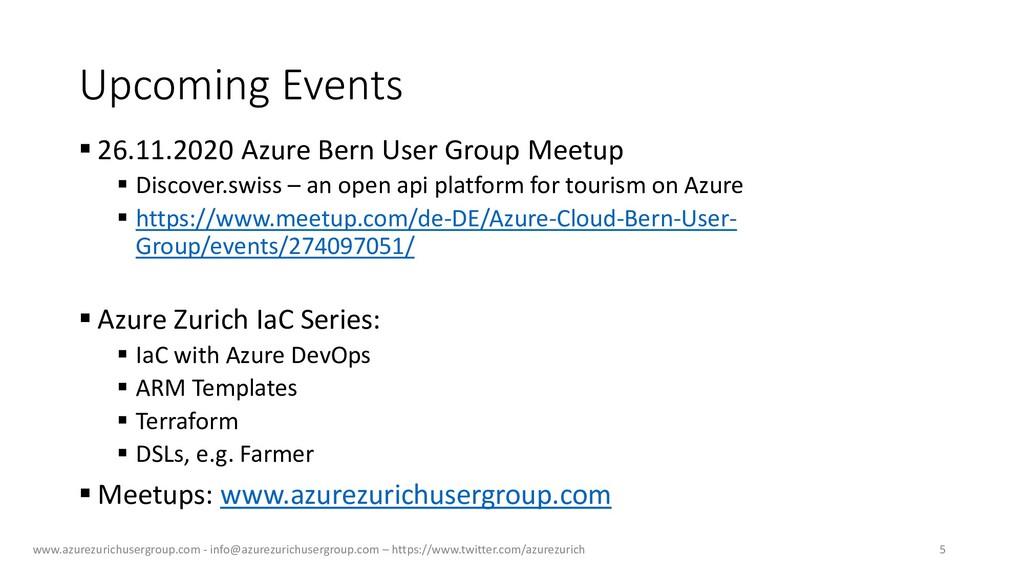 Upcoming Events ▪ 26.11.2020 Azure Bern User Gr...