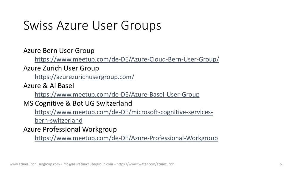 Swiss Azure User Groups www.azurezurichusergrou...