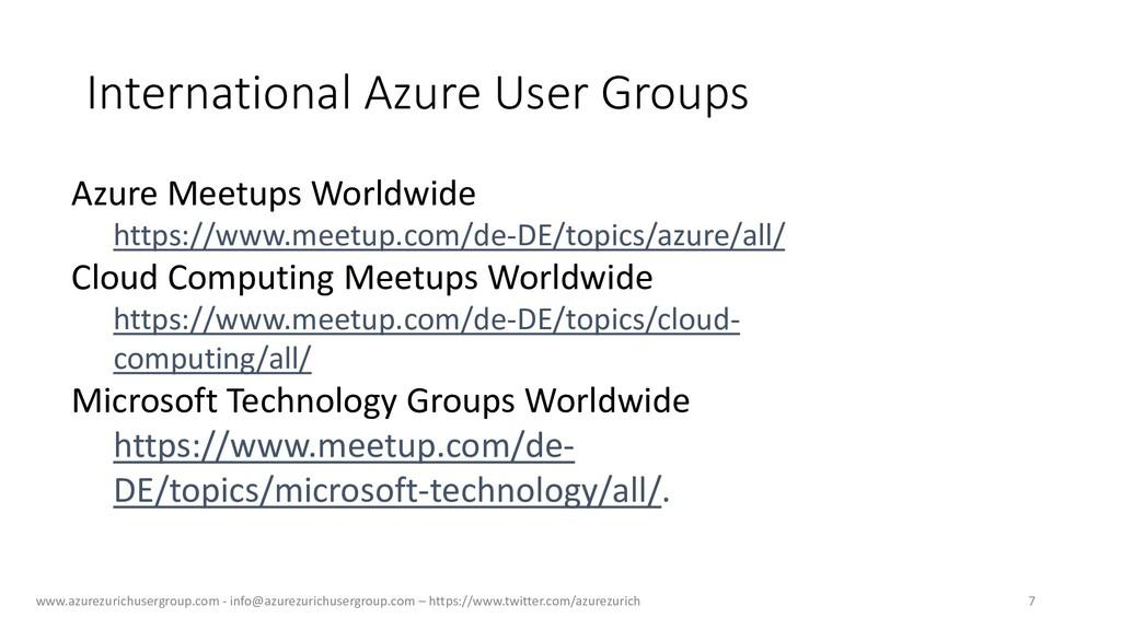 International Azure User Groups www.azurezurich...