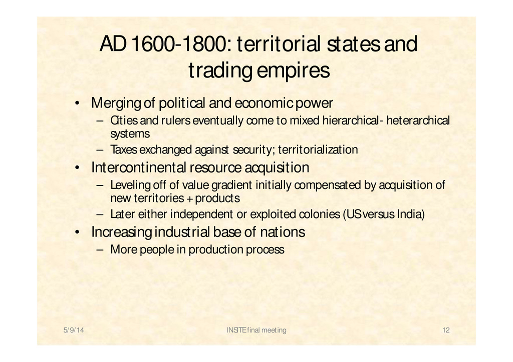 AD 1600-1800: territorial states and trading em...