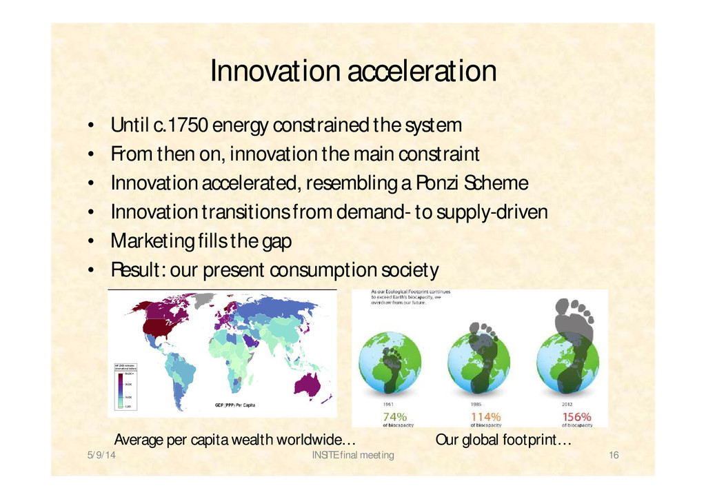 Innovation acceleration • Until c.1750 energy c...