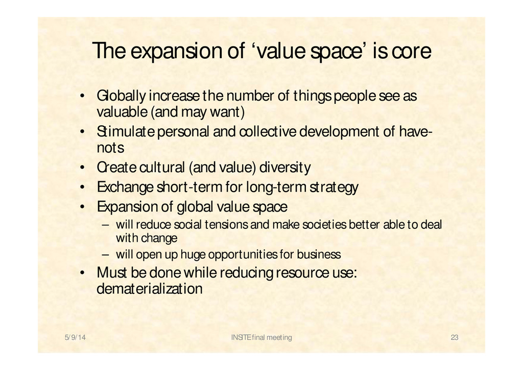 The expansion of 'value space' is core • Global...