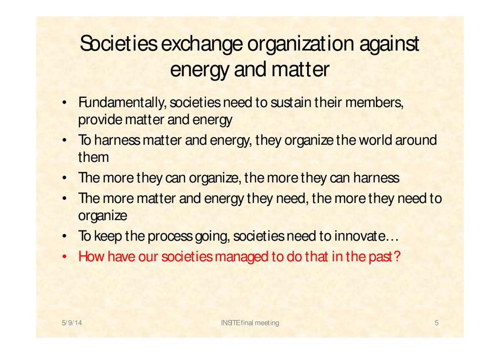 Societies exchange organization against energy ...