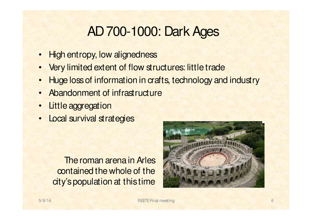 AD 700-1000: Dark Ages • High entropy, low alig...