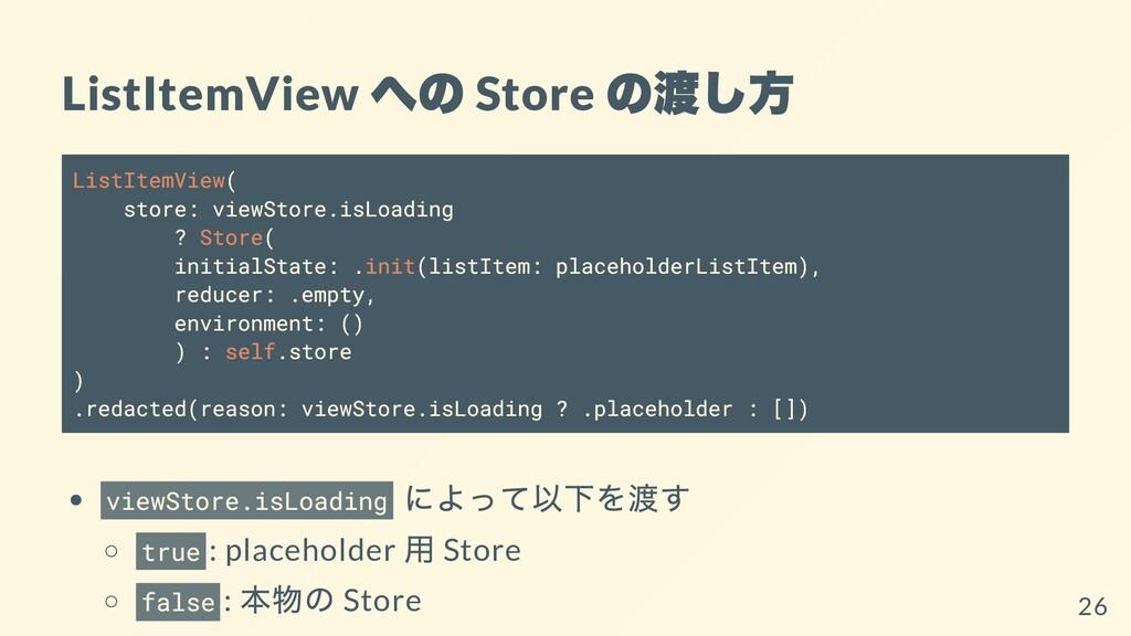 ListItemView への Store の渡し⽅ ListItemView( store:...