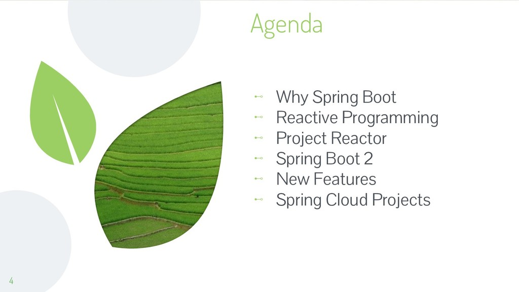 Agenda ⊷ Why Spring Boot ⊷ Reactive Programming...