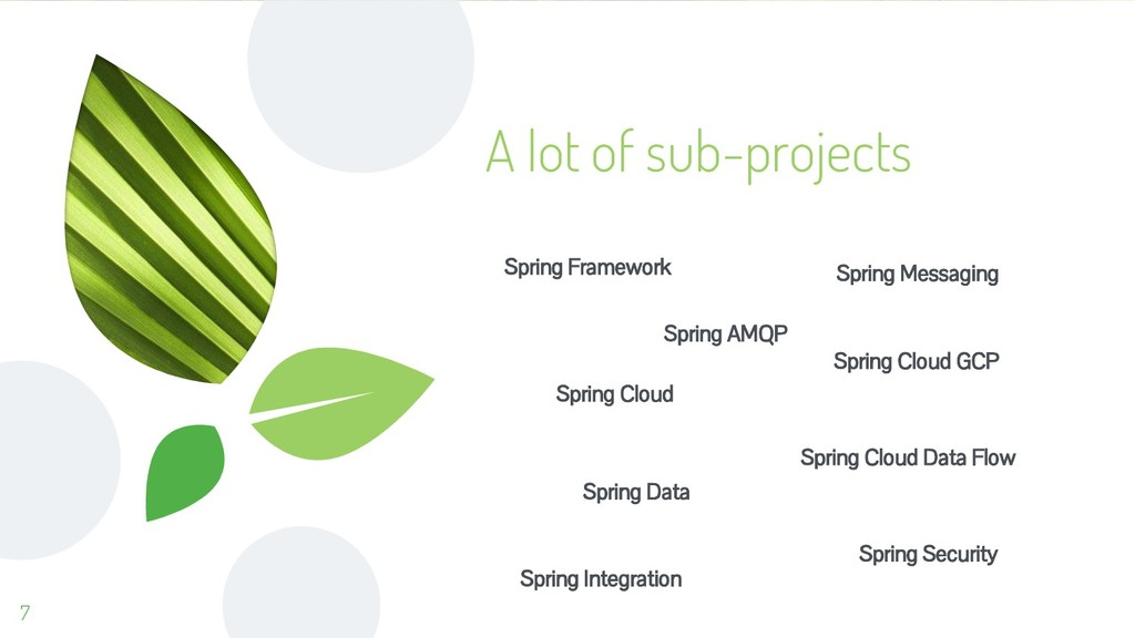 A lot of sub-projects Spring Data 7 Spring AMQP...