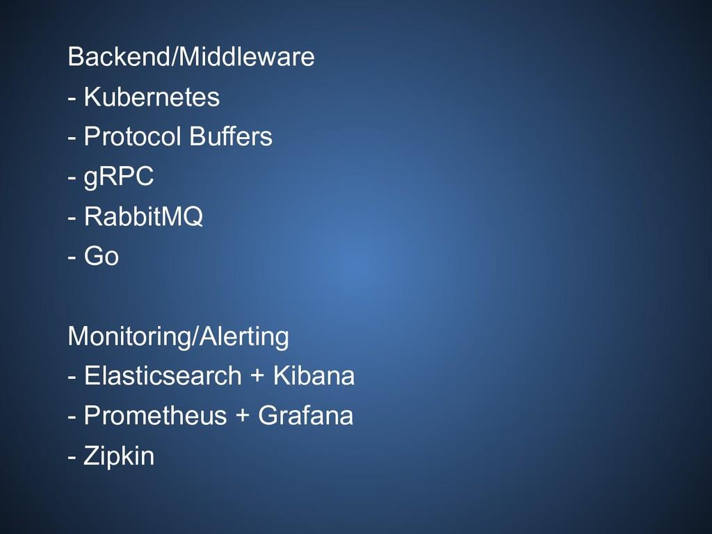 Backend/Middleware - Kubernetes - Protocol Buff...