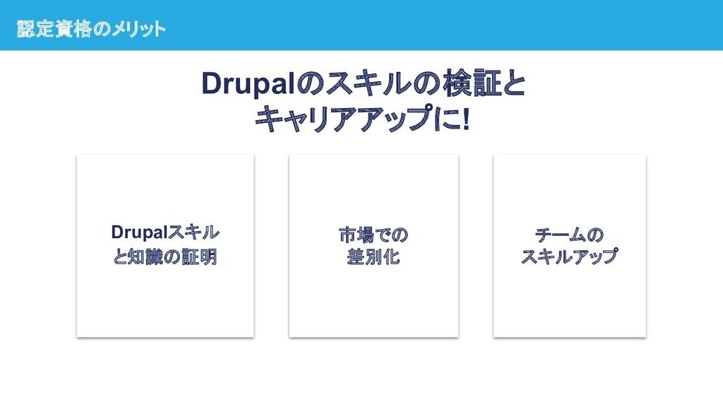 認定資格のメリット Drupalスキル と知識の証明 市場での 差別化 チームの スキルアップ...