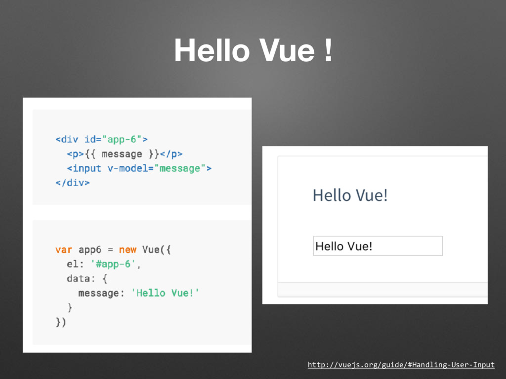 Hello Vue ! http://vuejs.org/guide/#Handling-Us...