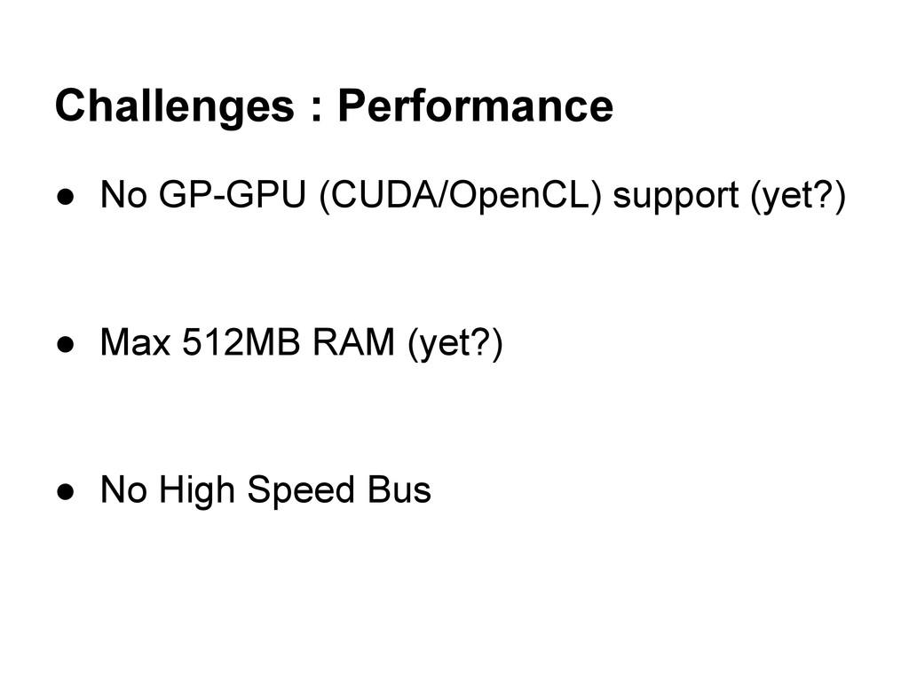 Challenges : Performance ● No GP-GPU (CUDA/Open...